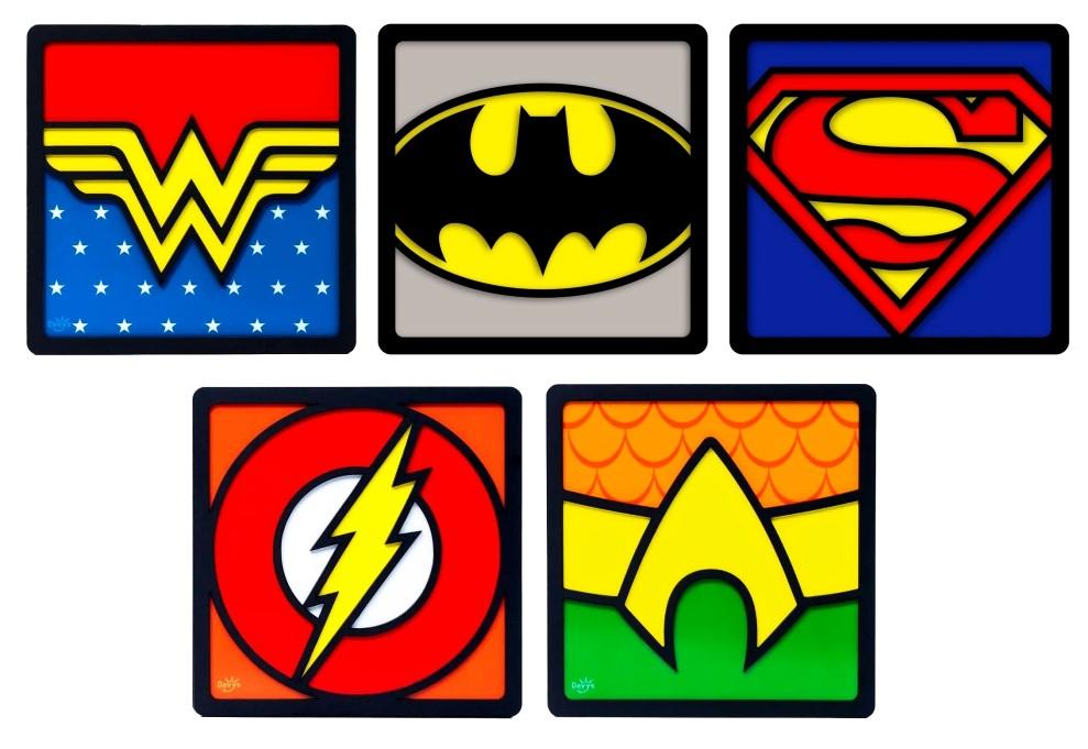 Kit com 5 Quadros Decorativos Super-Heróis Liga da Justiça