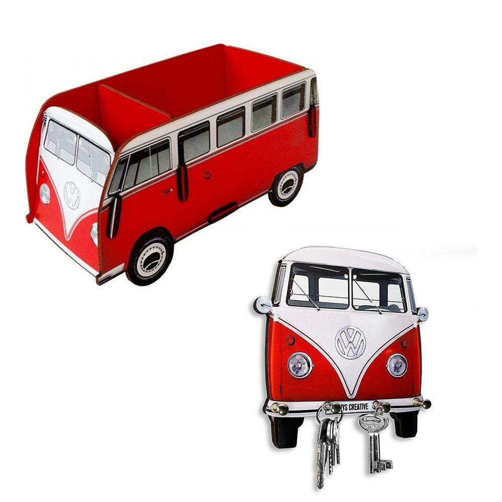 Kit Porta Chaves e Porta Controle Kombi Vermelha