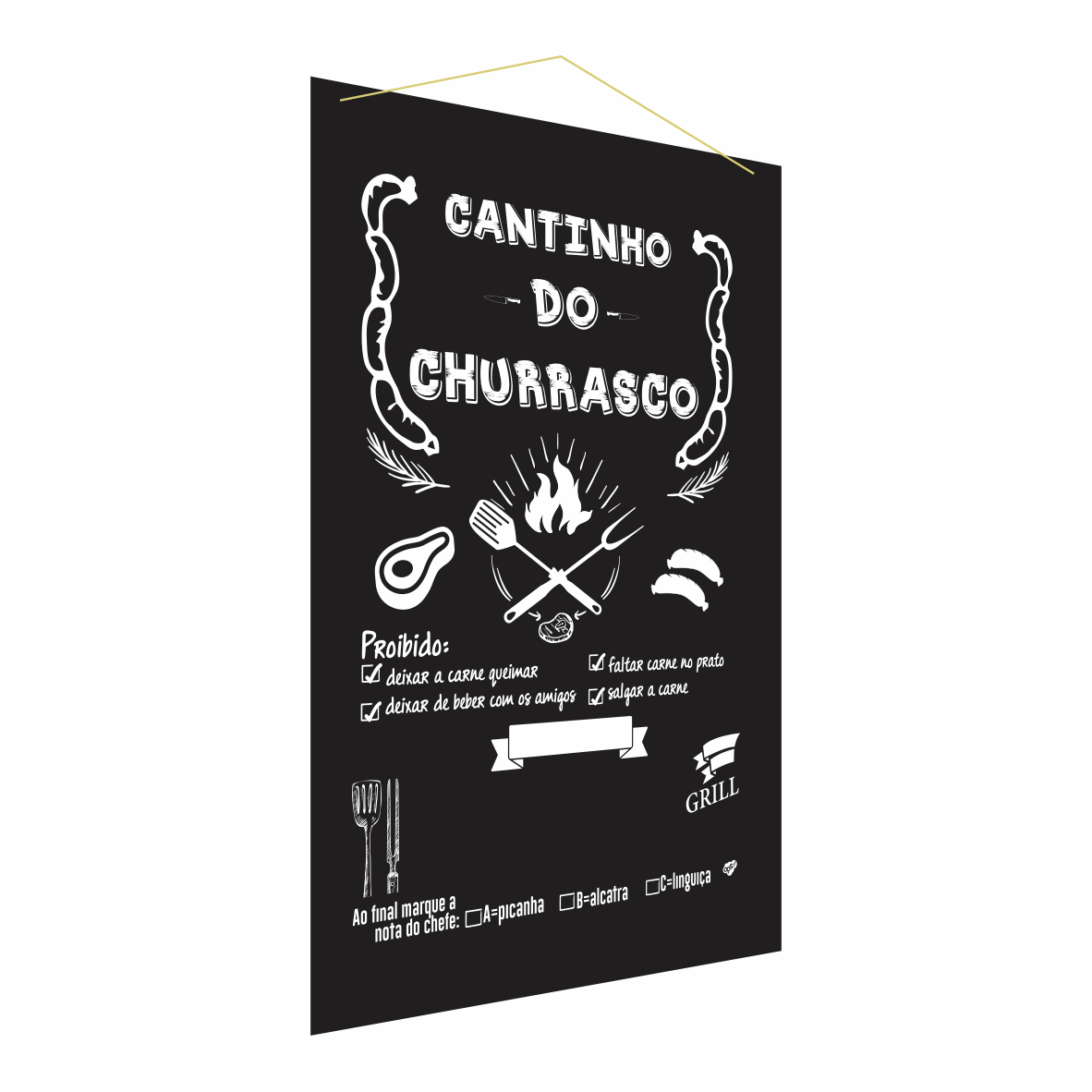 Lousa Chalkboard Preta Decorativa Cantinho do Charrasco