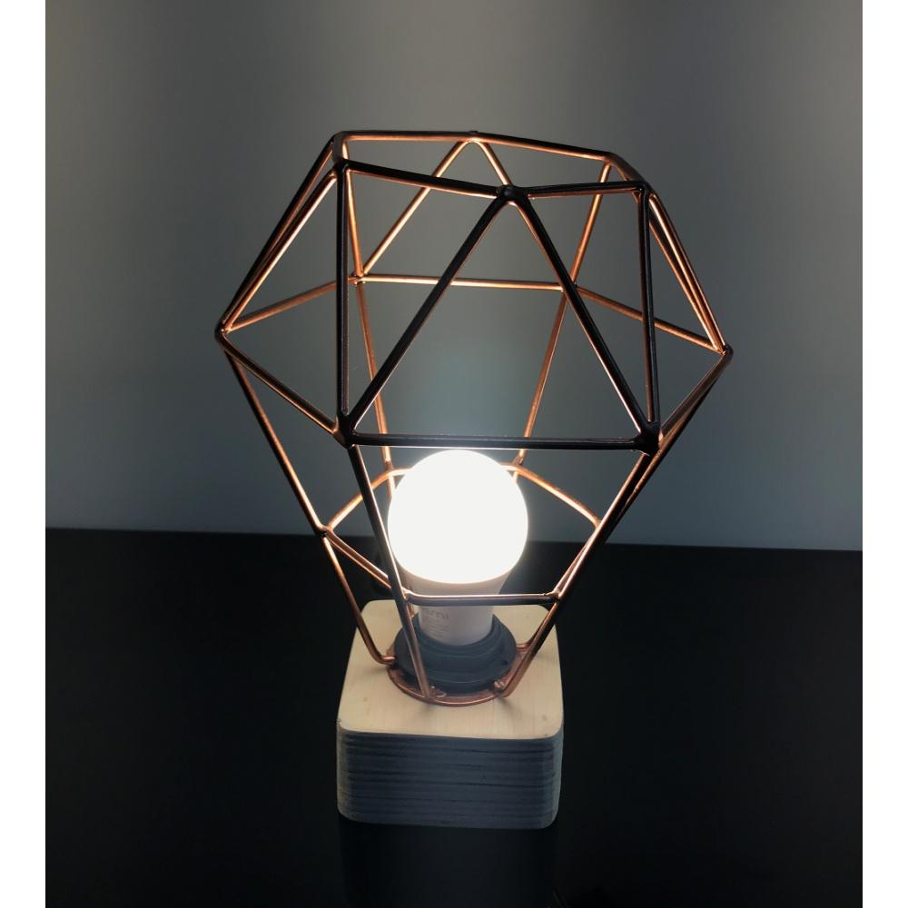 Luminária Diamante Metal Rosê