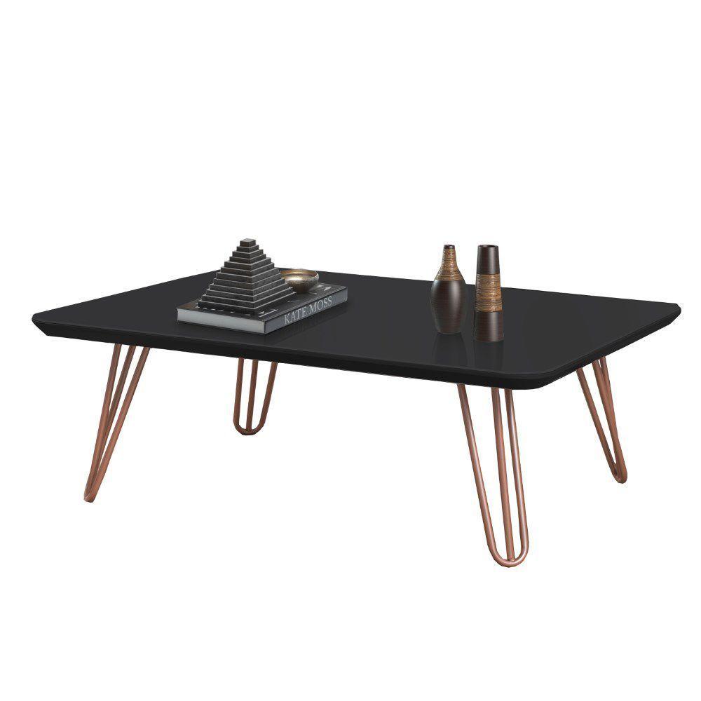 Mesa de Centro Preta com Pés de Metal Cobre 70x90 cm