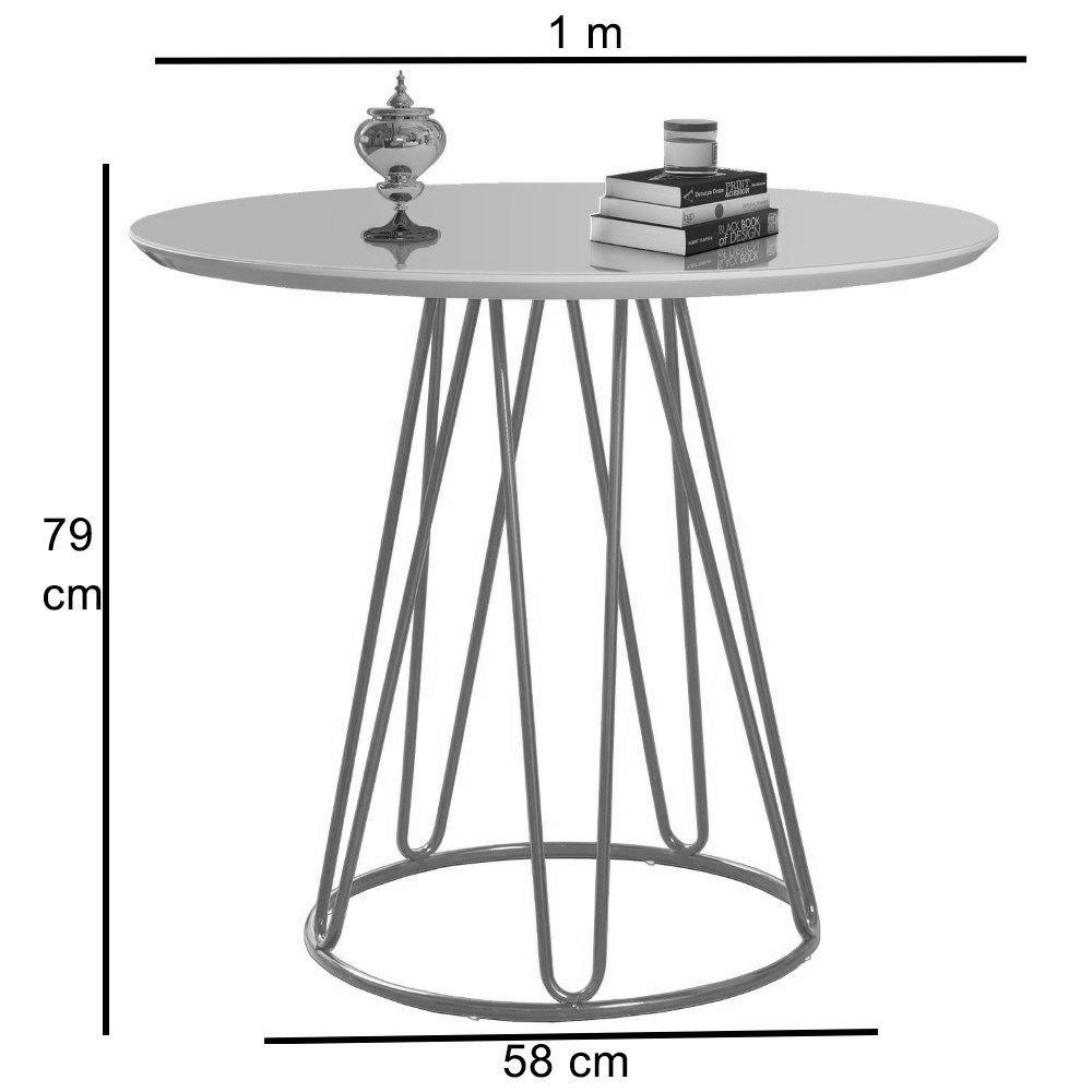 Mesa de Jantar Rubi Branca com Base de Metal Preta