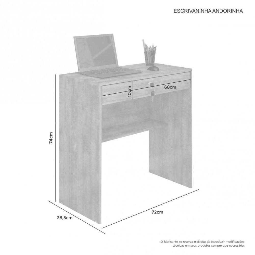 Mesa Escrivaninha Andorinha JCM Móveis Branco