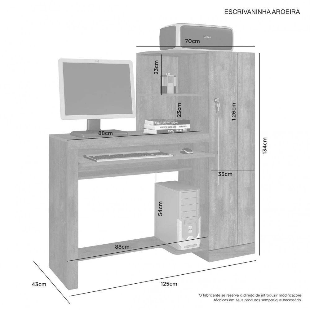 Mesa Escrivaninha com Armário 1 Porta Aroeira JCM Móveis Branco
