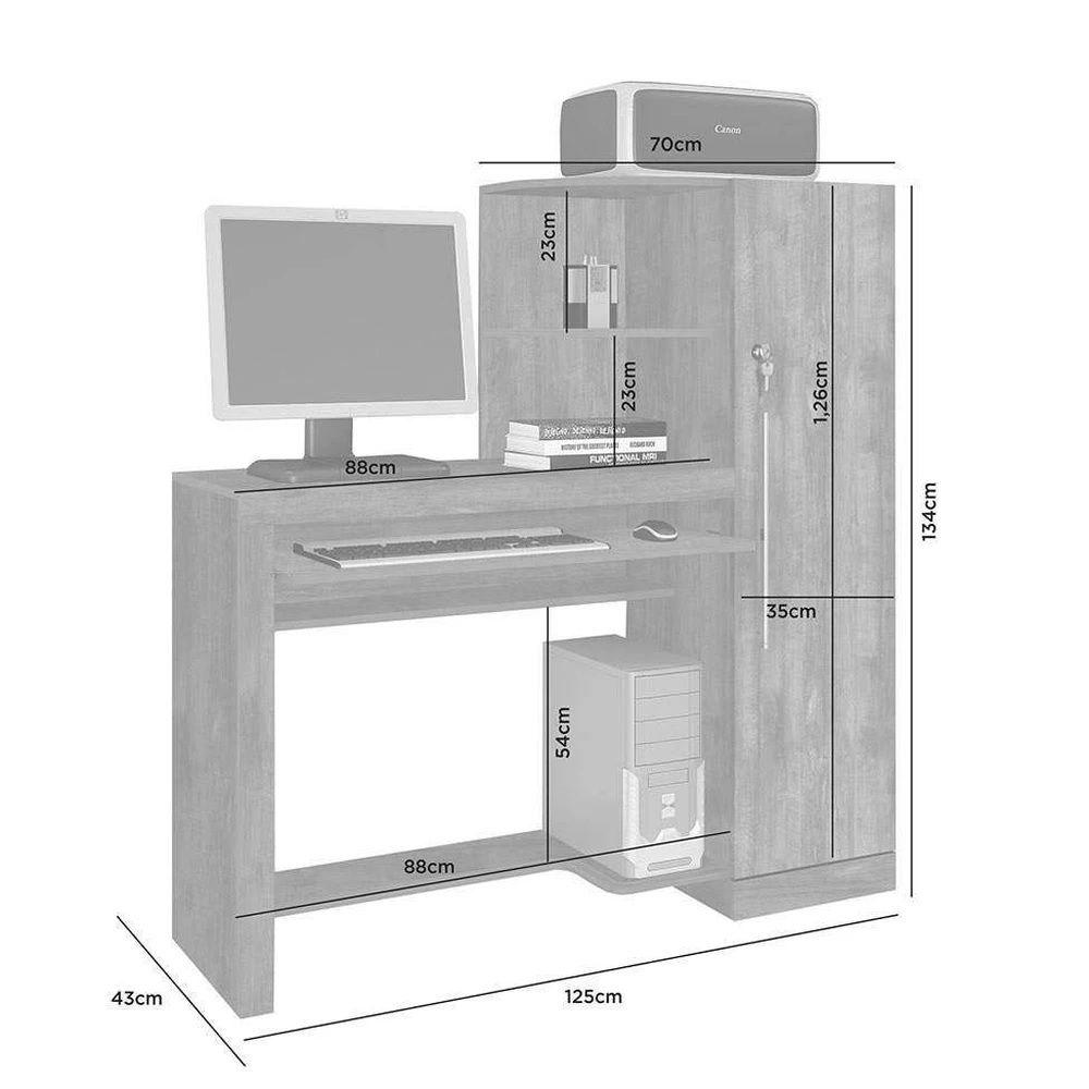 Mesa Escrivaninha com Armário 1 Porta Aroeira JCM Móveis Nobre Soft