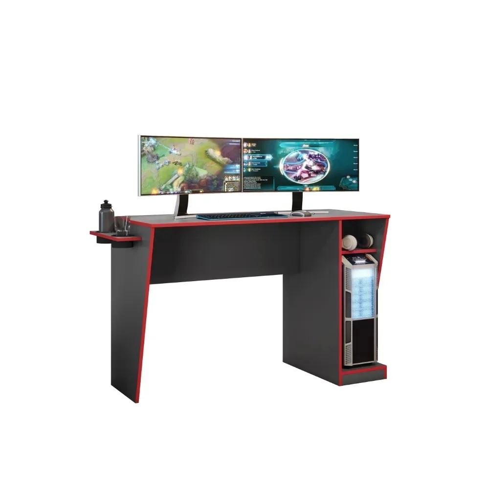Mesa Gamer Cyber Grafite e Vermelho