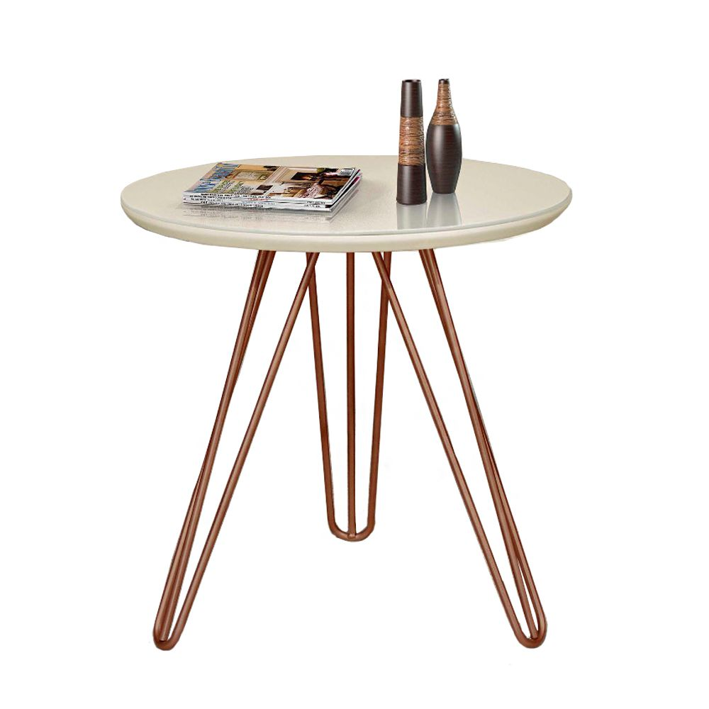 Mesa Lateral de Canto Off White com Pé Metal Cobre