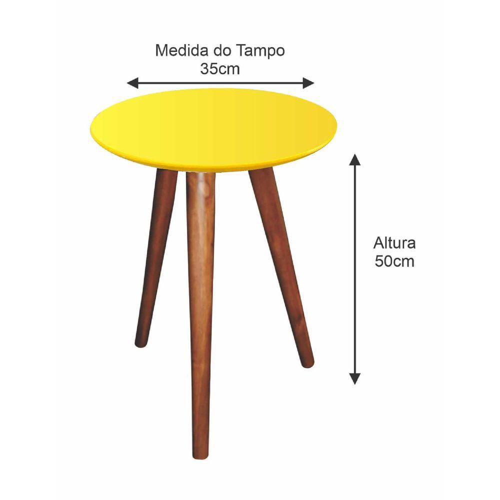 Mesa Lateral de Canto Pé Palito Amarela 35 cm