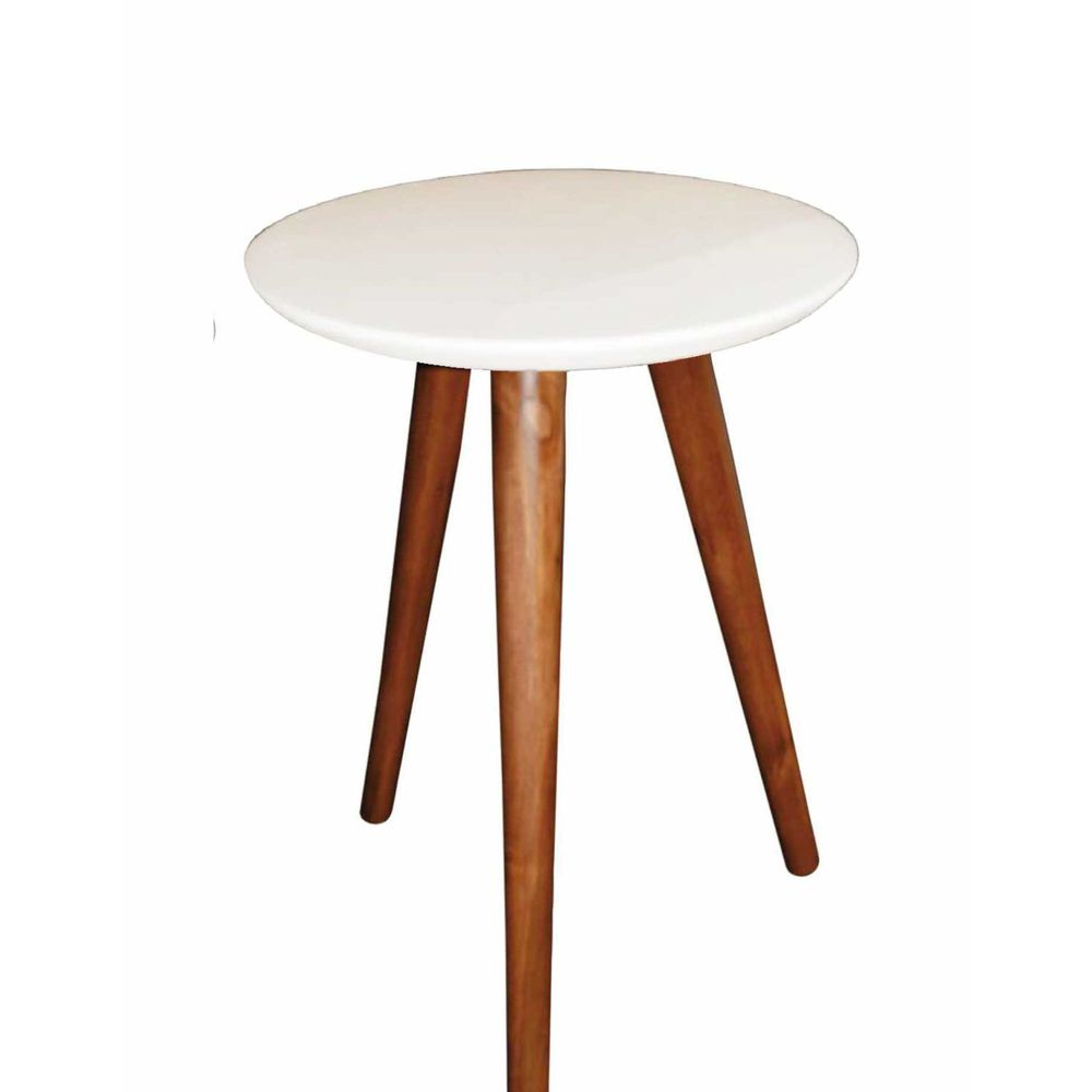 Mesa Lateral de Canto Pé Palito Branca 35 cm
