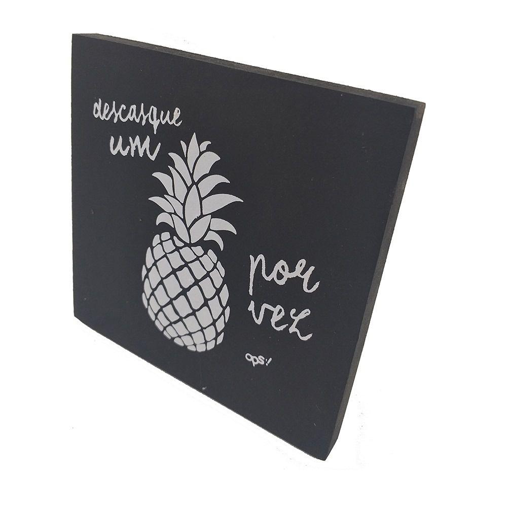 Mini Quadro Decorativo Descasque um Abacaxi 12x12 cm