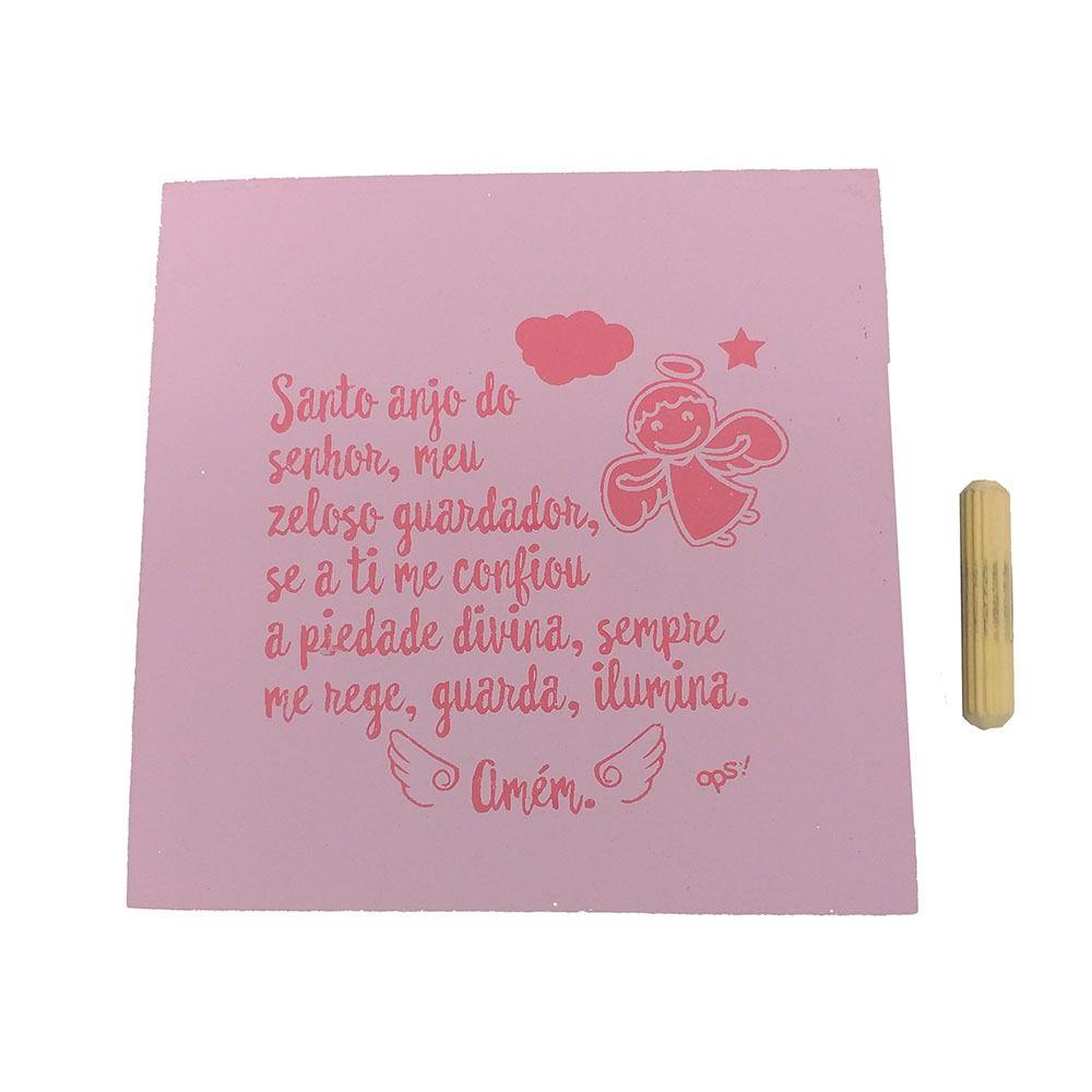 Mini Quadro Decorativo Santo Anjo Rosa Bebê 12x12 cm