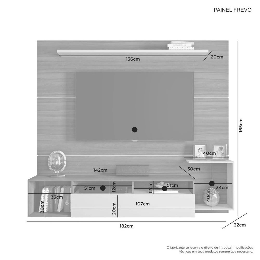 Painel para TV até 60 Polegadas Frevo JCM Móveis Cacau/Off White