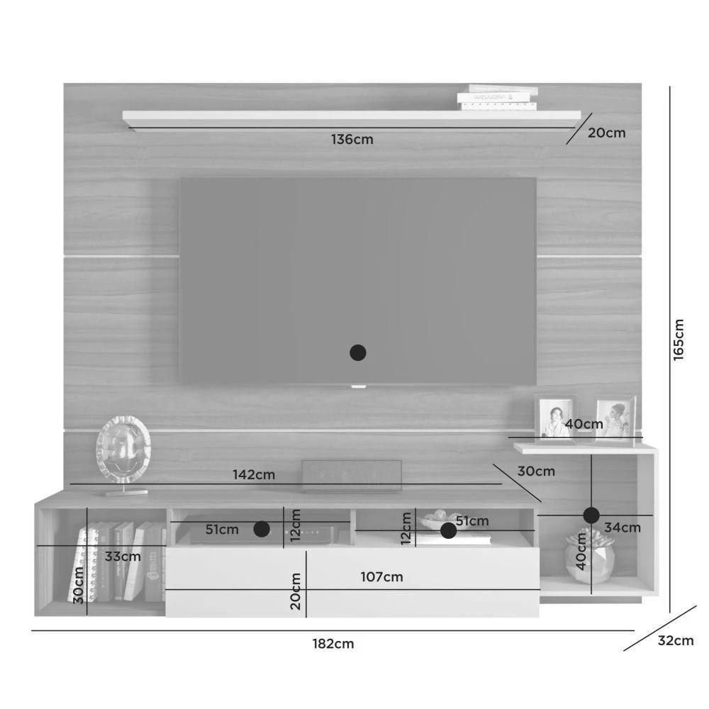 Painel para TV até 60 Polegadas Frevo JCM Móveis Nobre Soft/Off White