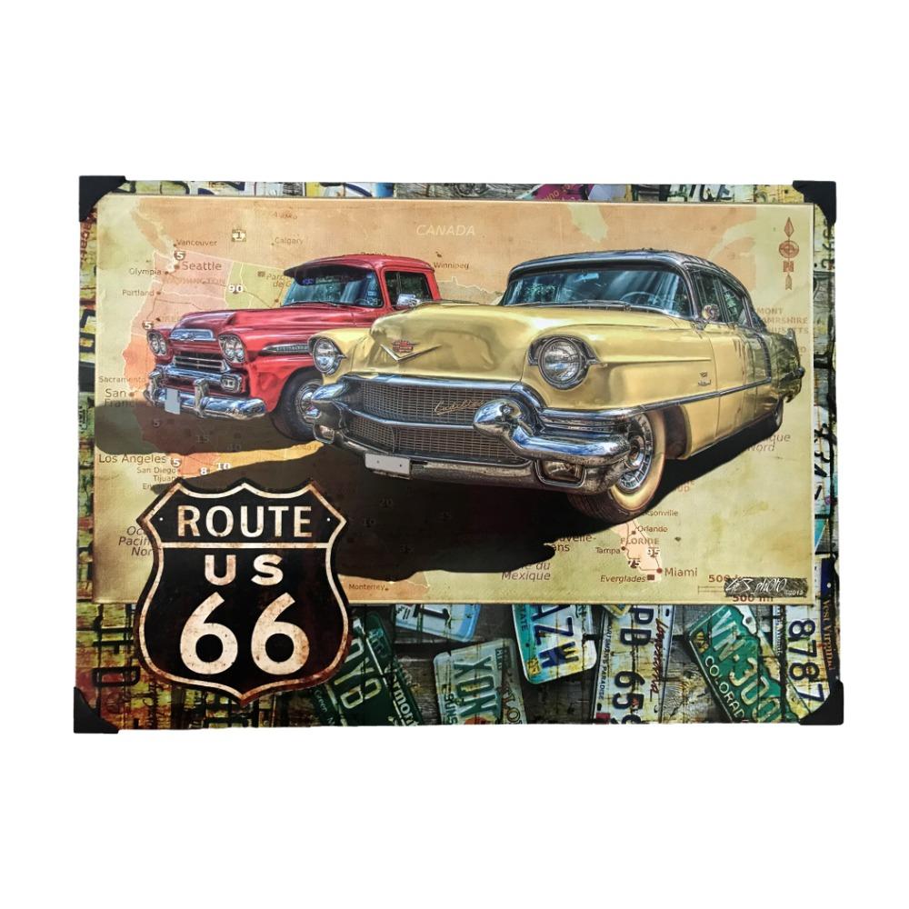 Placa Decorativa em Metal Route 66