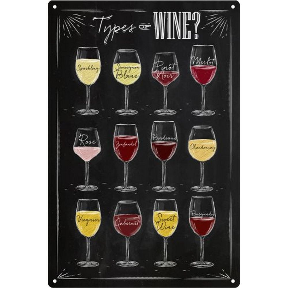 Placa Decorativa Tipos de Vinho Wine