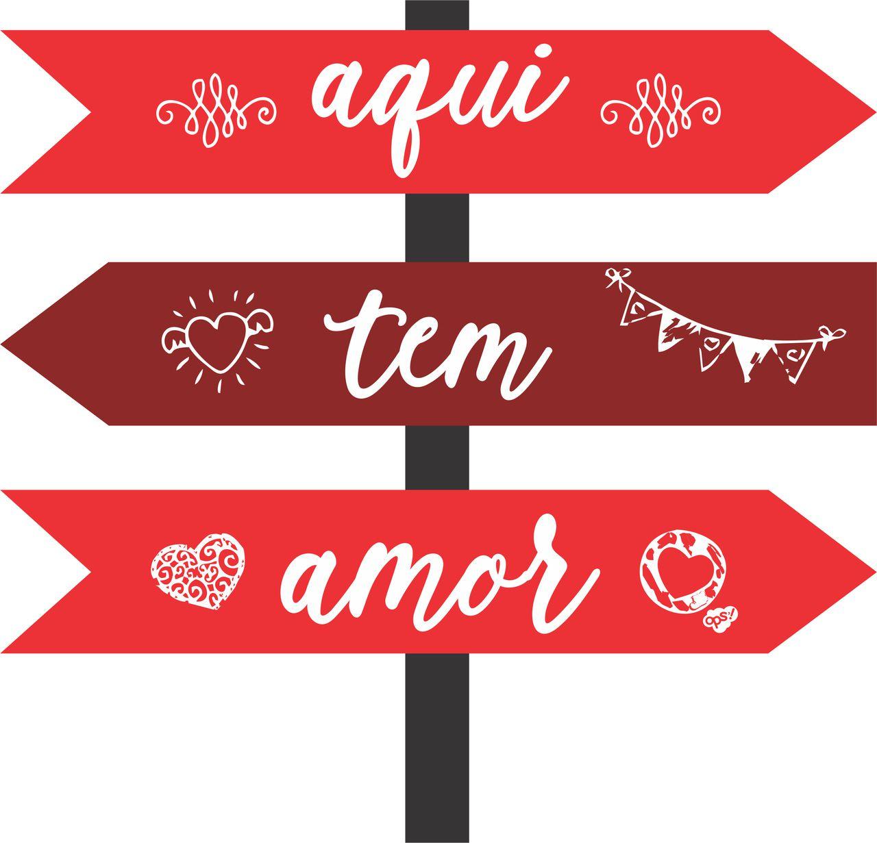 Placa Decorativas Seta Aqui Tem Amor