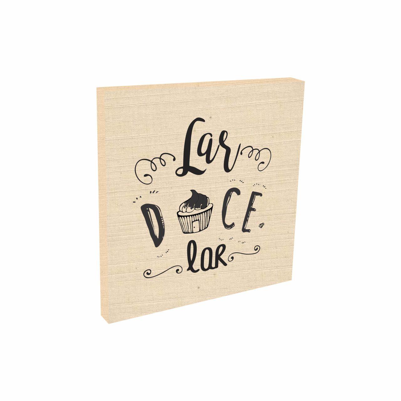 Quadro Decorativo Tecido Algodão Lar Doce Lar Cupcake 20x20 cm