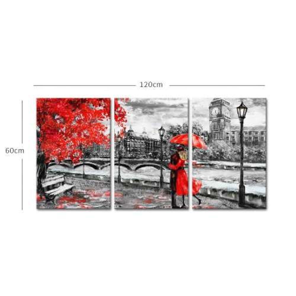 Quadro Casal Em Londres Detalhe Vermelho Decorativo Interiores 60x120 cm