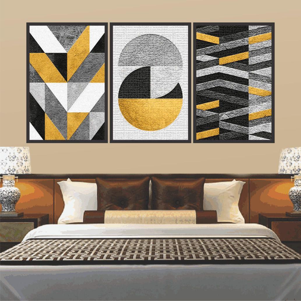 Quadro Decorativo Abstrato Tons Amarelo Moldura Preta 60x120 cm