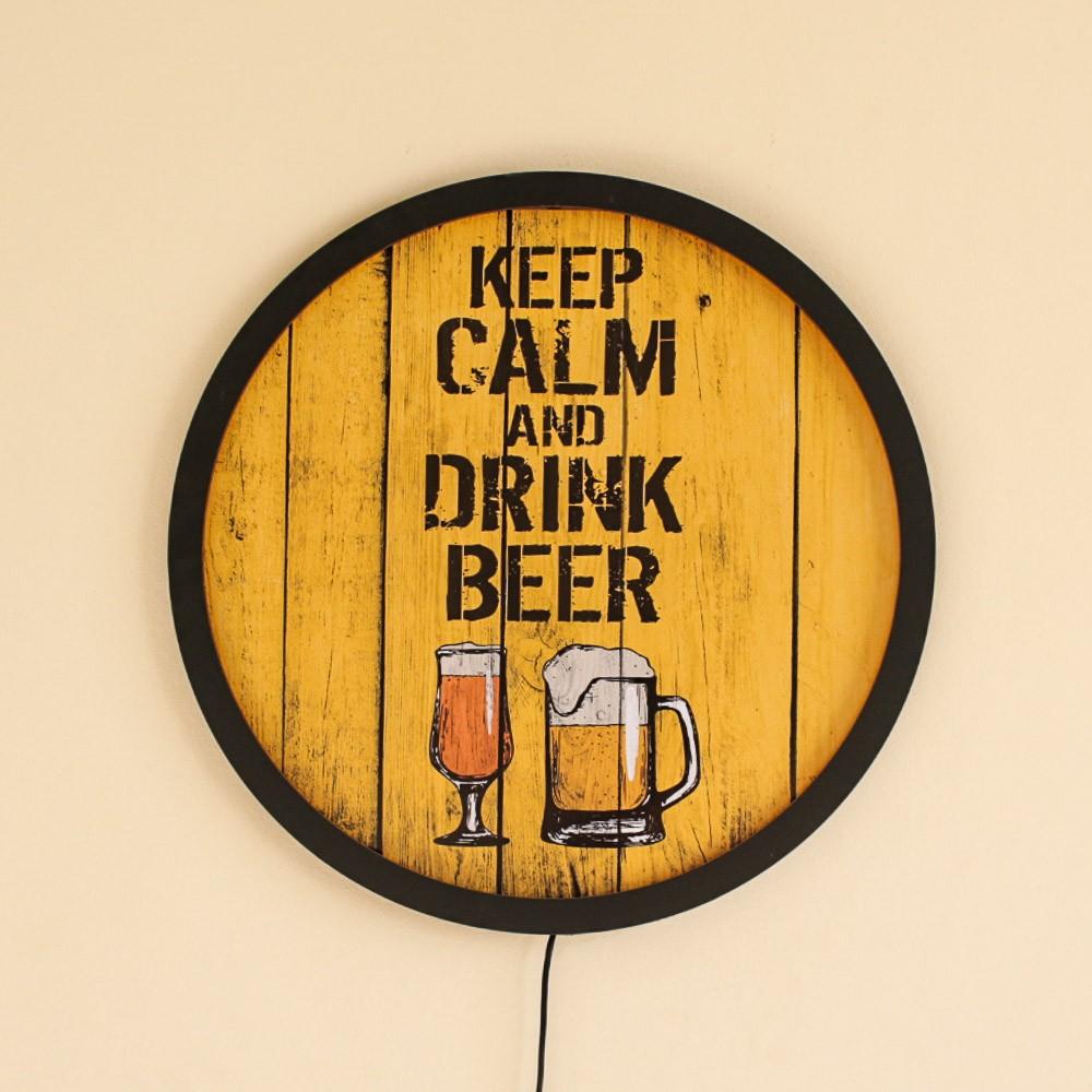 Quadro Decorativo com Luz LED Keep Calm and Drink Beer