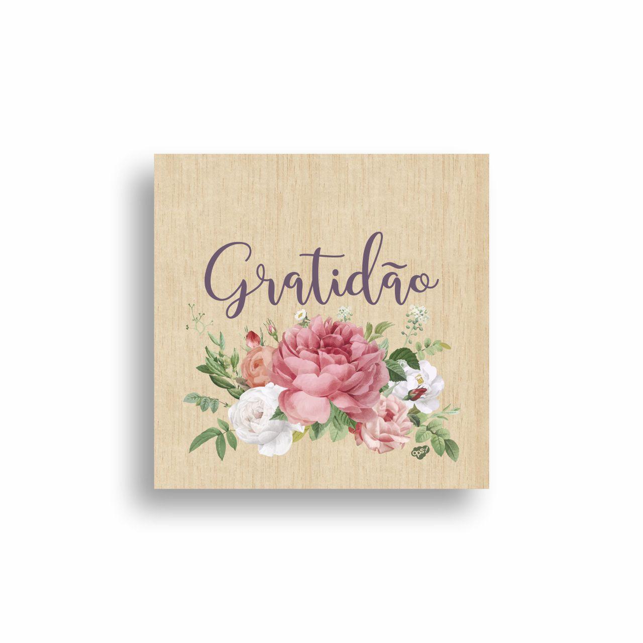 Quadro Decorativo Floral Gratidão 20x20 cm
