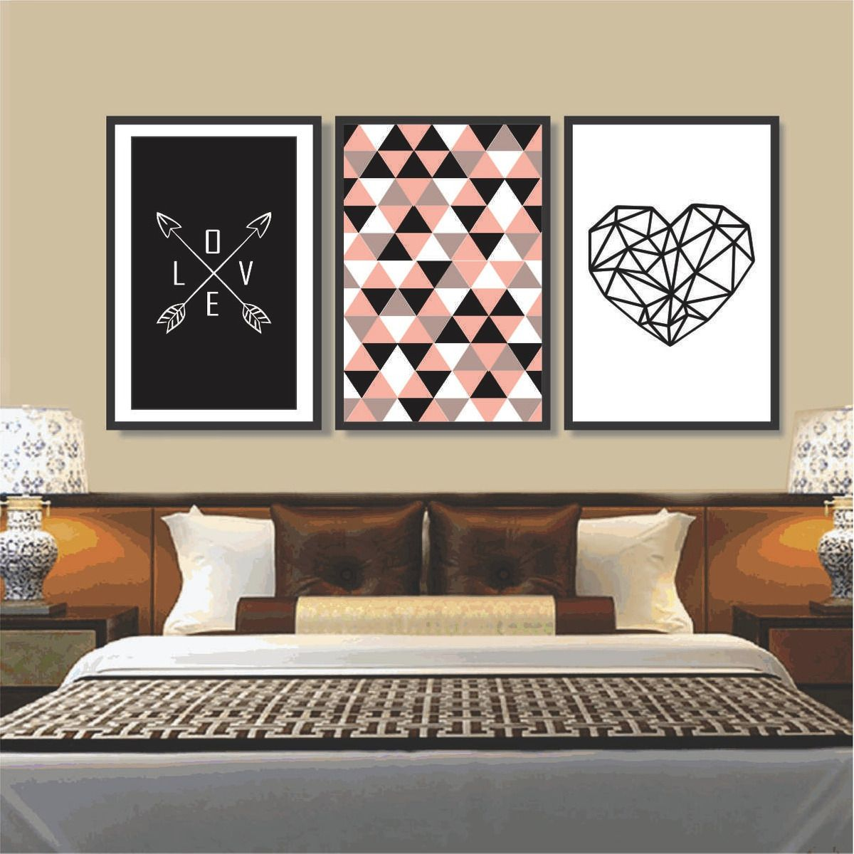 Quadro Decorativo Mosaico Amor Love Moldura Preta 60x120 cm