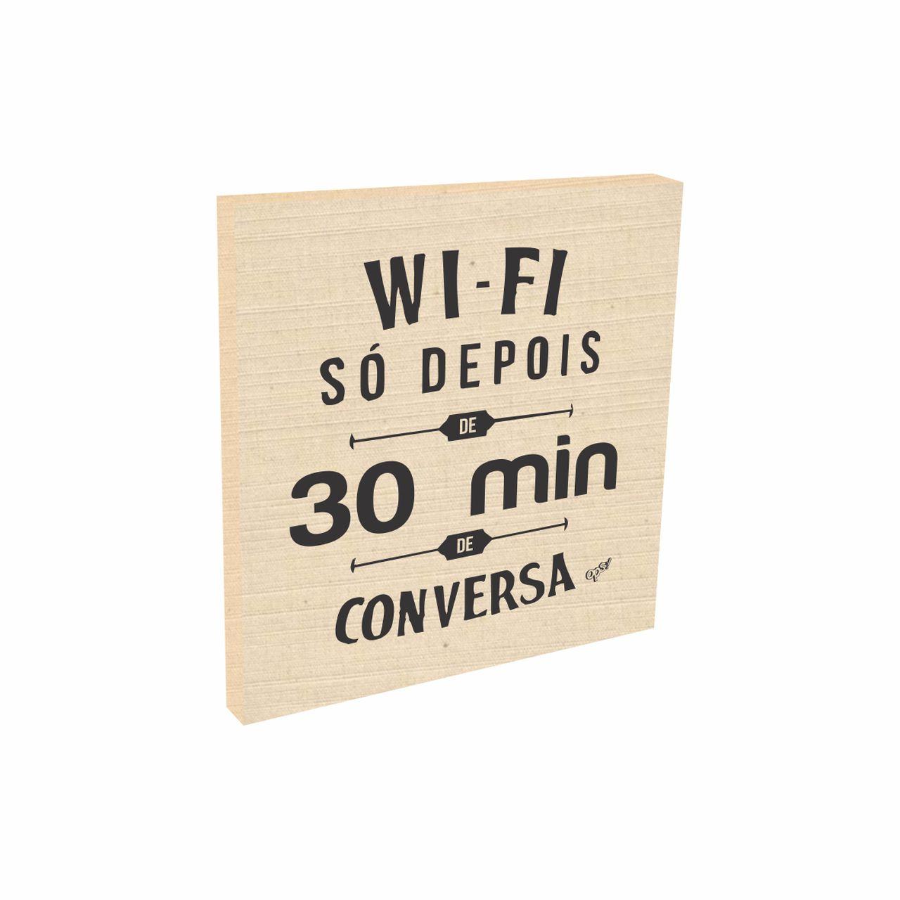 Quadro Decorativo Tecido Algodão Wi-Fi 20x20 cm