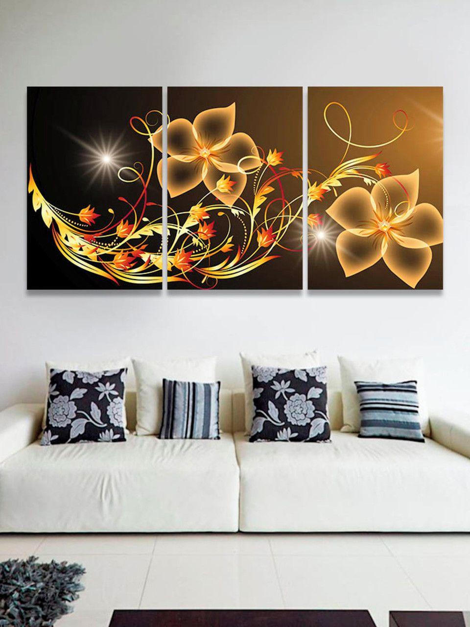 Quadro Flores Digitais Abstrato Decorativo Interiores 60x120 cm