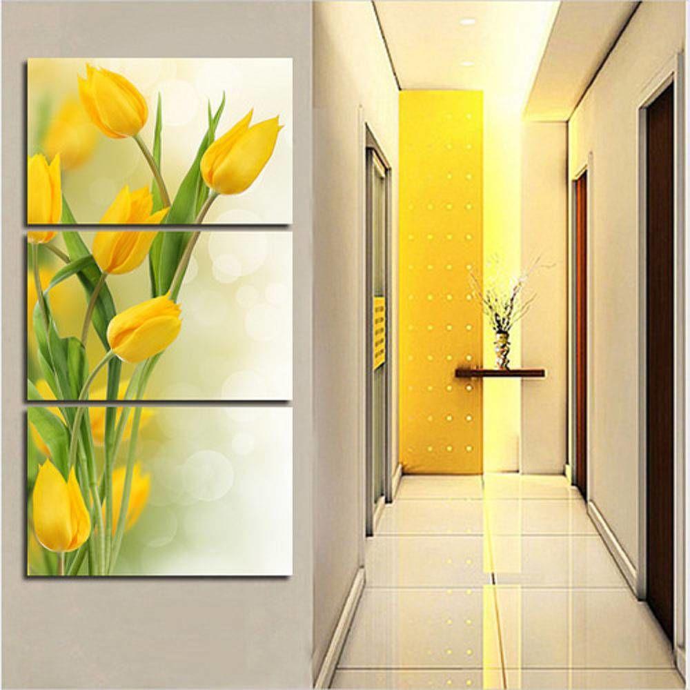 Quadro Flores Tulipas Amarela Decorativo Interiores 60x120 cm