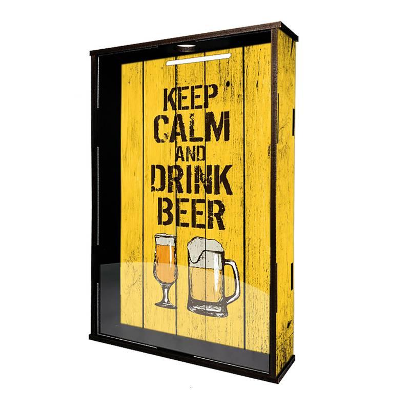 Quadro Porta Rolhas e Tampinhas Keep Calm and Drink Beer