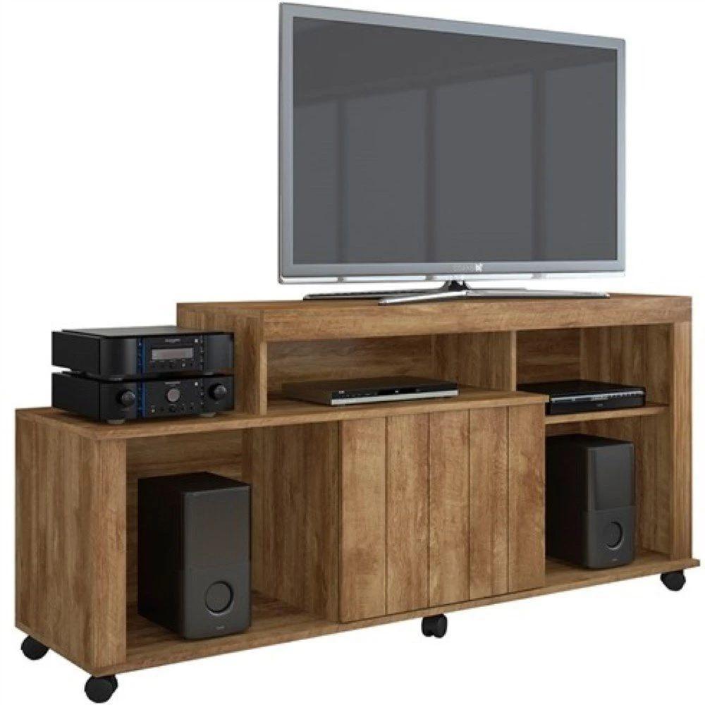 Rack para TV até 42 Polegadas JCM Móveis 1 Porta 4 Nichos Ouro Nobre Soft