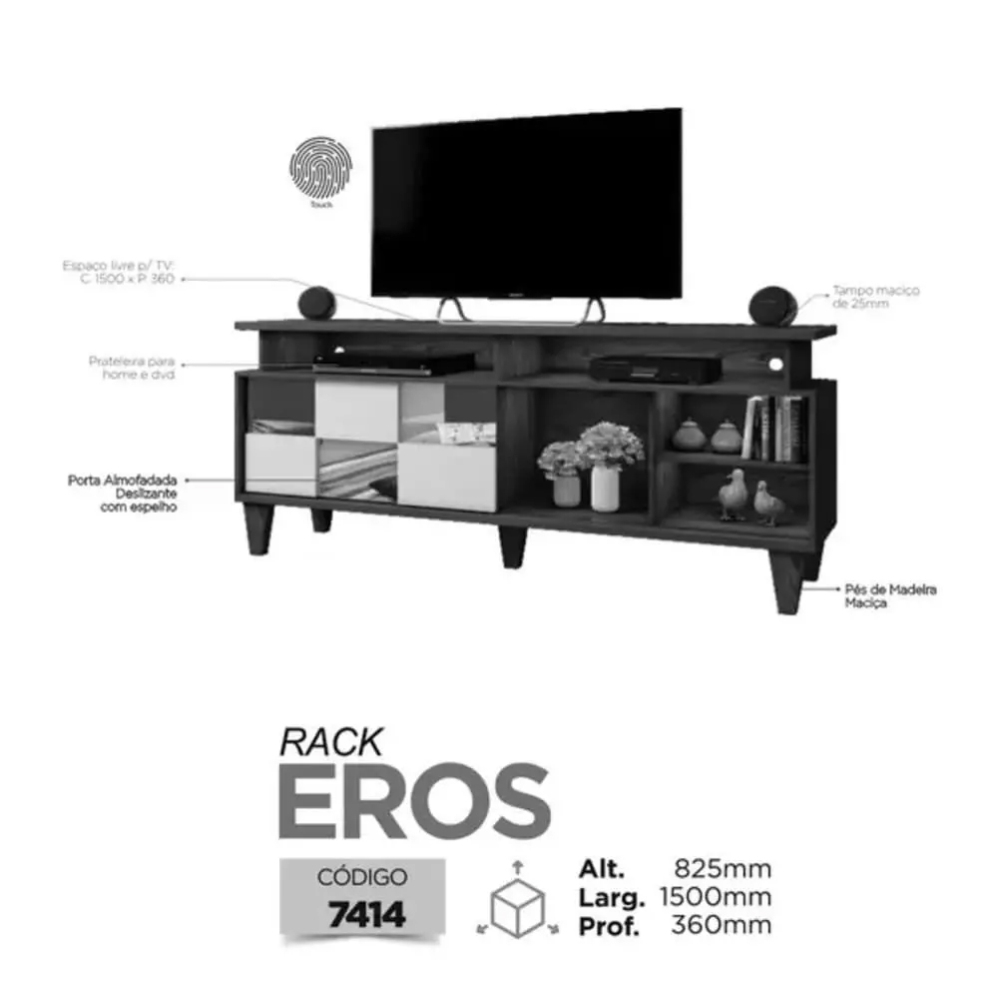 Rack para TV até 65 Polegadas Eros Mavaular Canion Soft/Off White