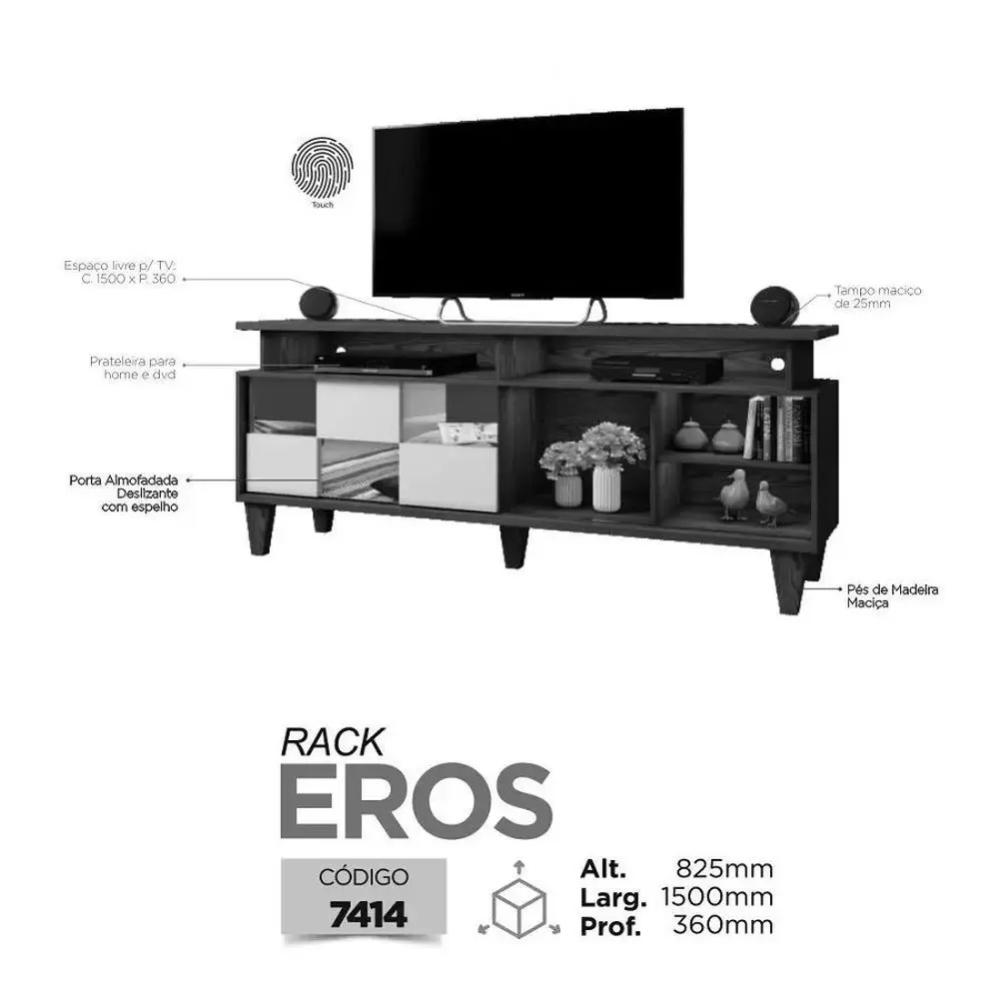 Rack para TV até 65 Polegadas Eros Mavaular Damasco Soft/Off White