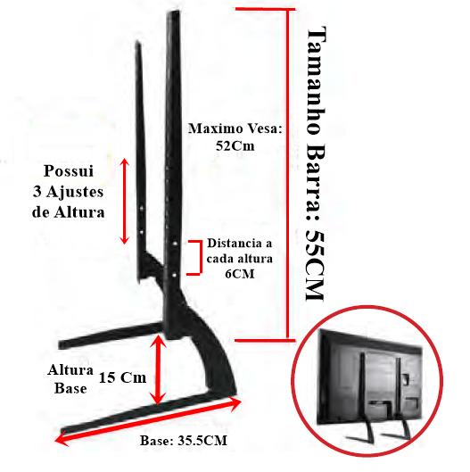 Suporte para TV Fixo Pedestal Mesa/Rack 36 a 75 Polegadas