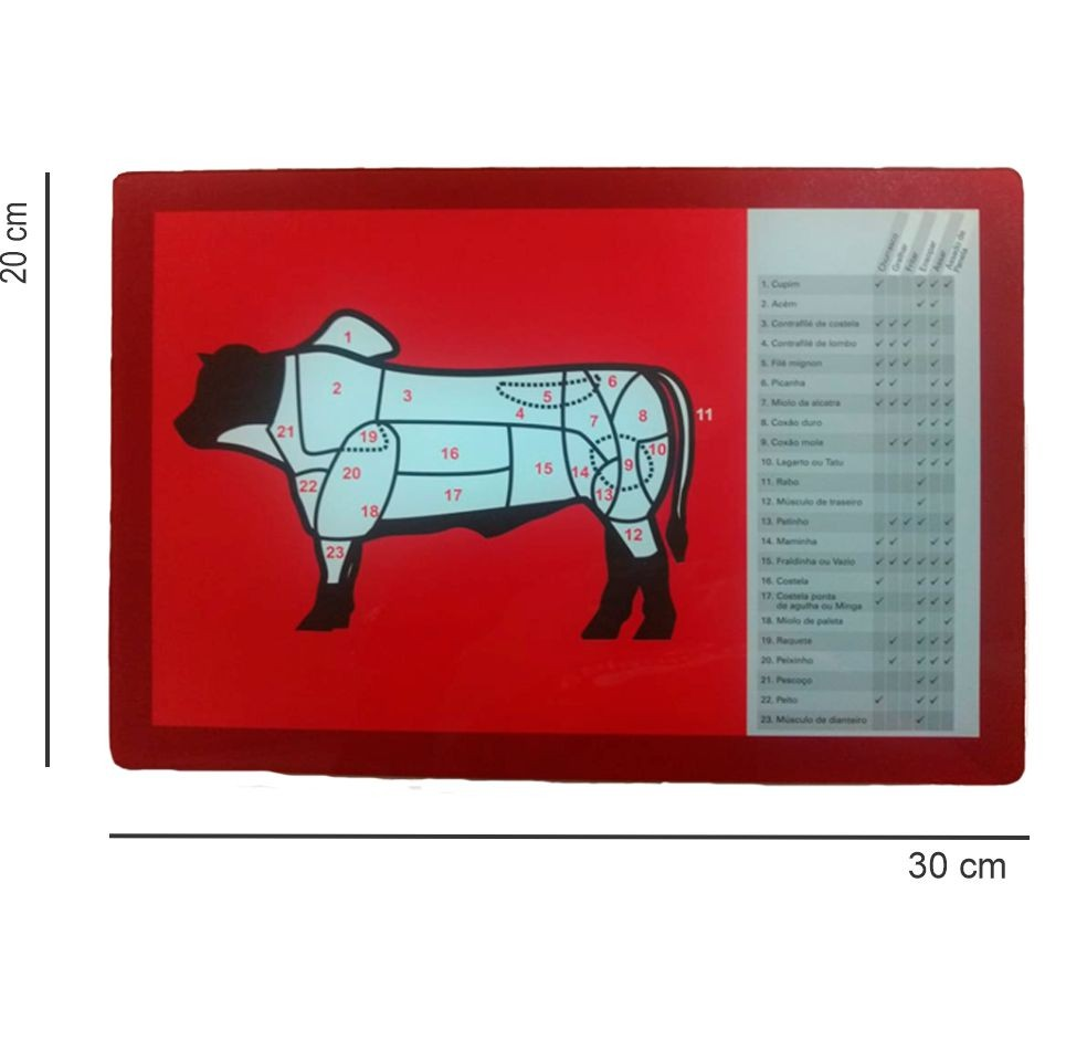 Tábua de Corte de Vidro Cortes do Boi Dynasty 30x20 cm