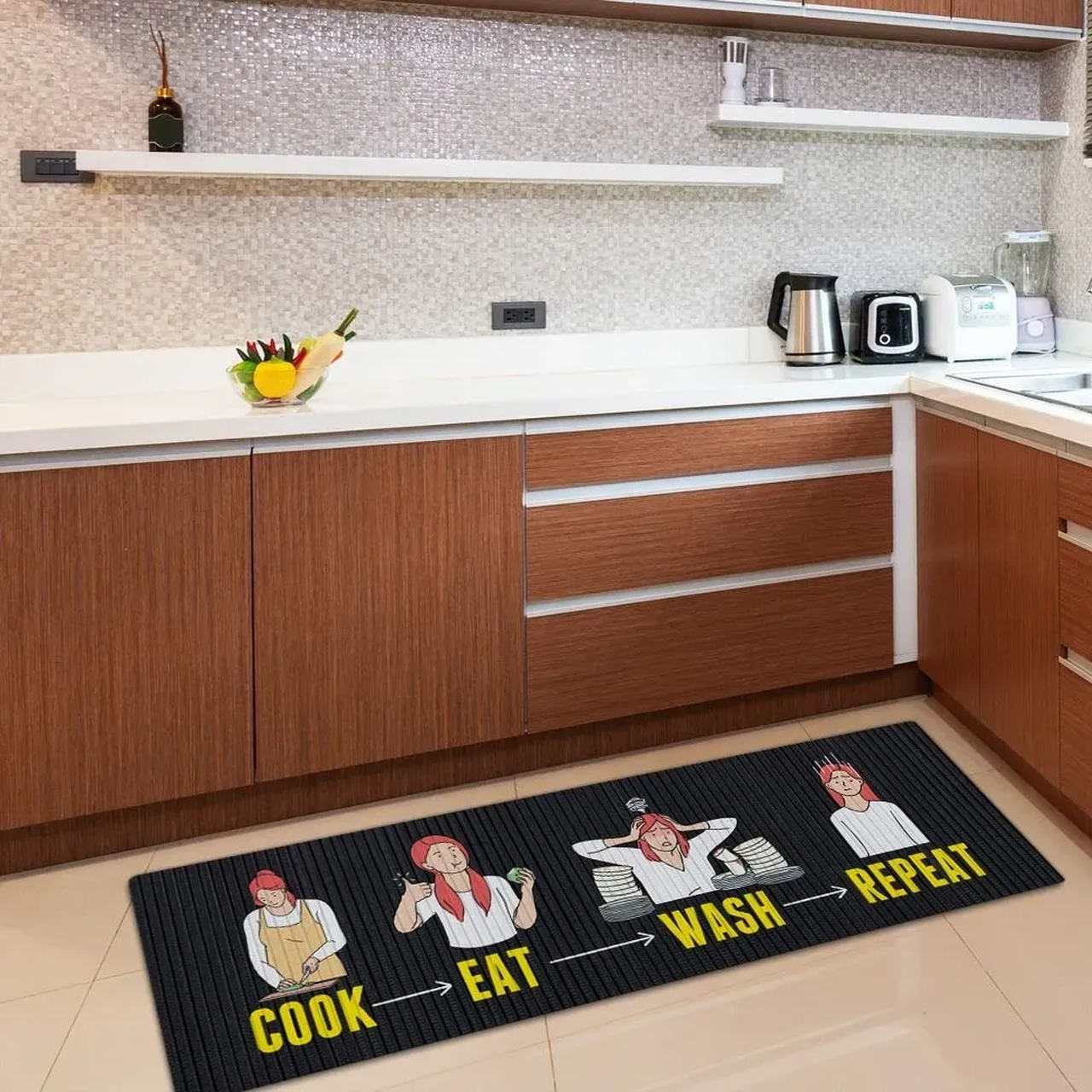 Tapete Cozinha Todo Dia Igual 125x40 cm
