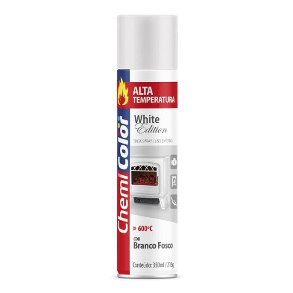 Tinta Spray Alta Temperatura Branco Fosco 350ml Chemicolor