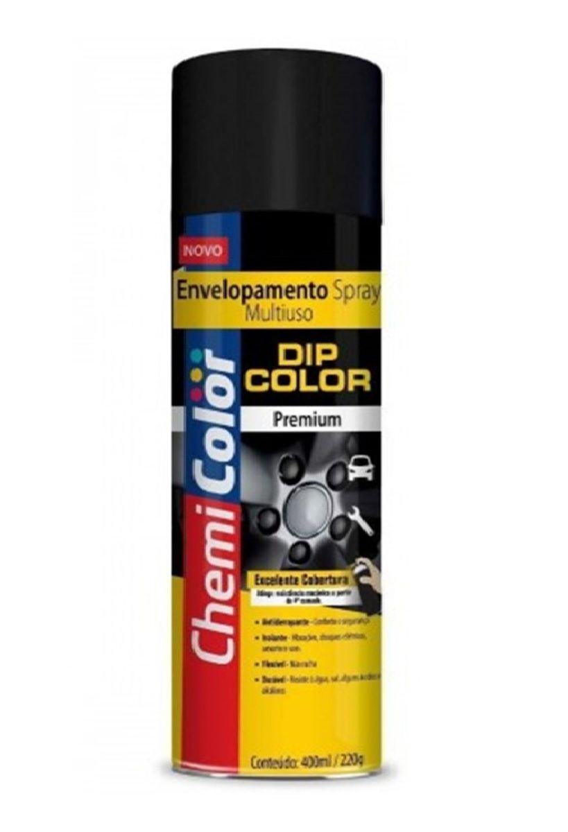 Tinta Spray Envelopamento Dip Color Preto Brilhante 400ml Chemicolor