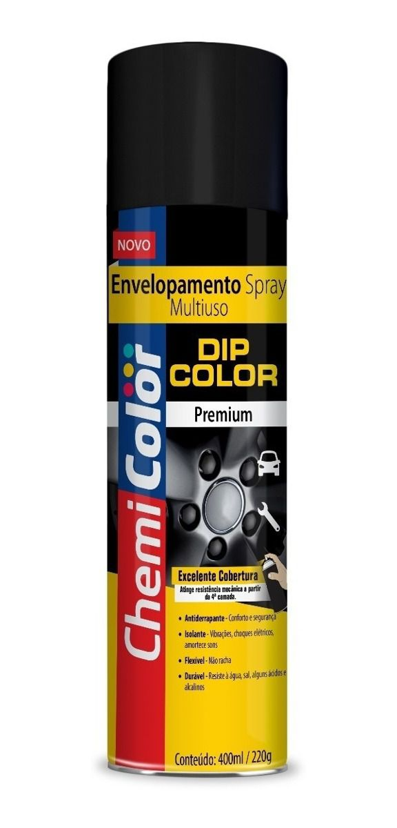 Tinta Spray Envelopamento Dip Color Preto Fosco 400ml Chemicolor