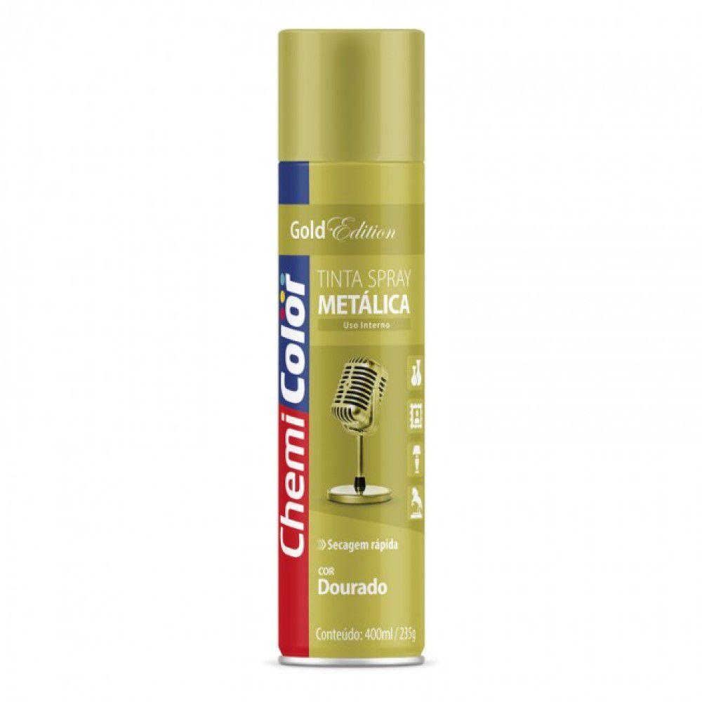 Tinta Spray Metálica Dourado 400ml Chemicolor