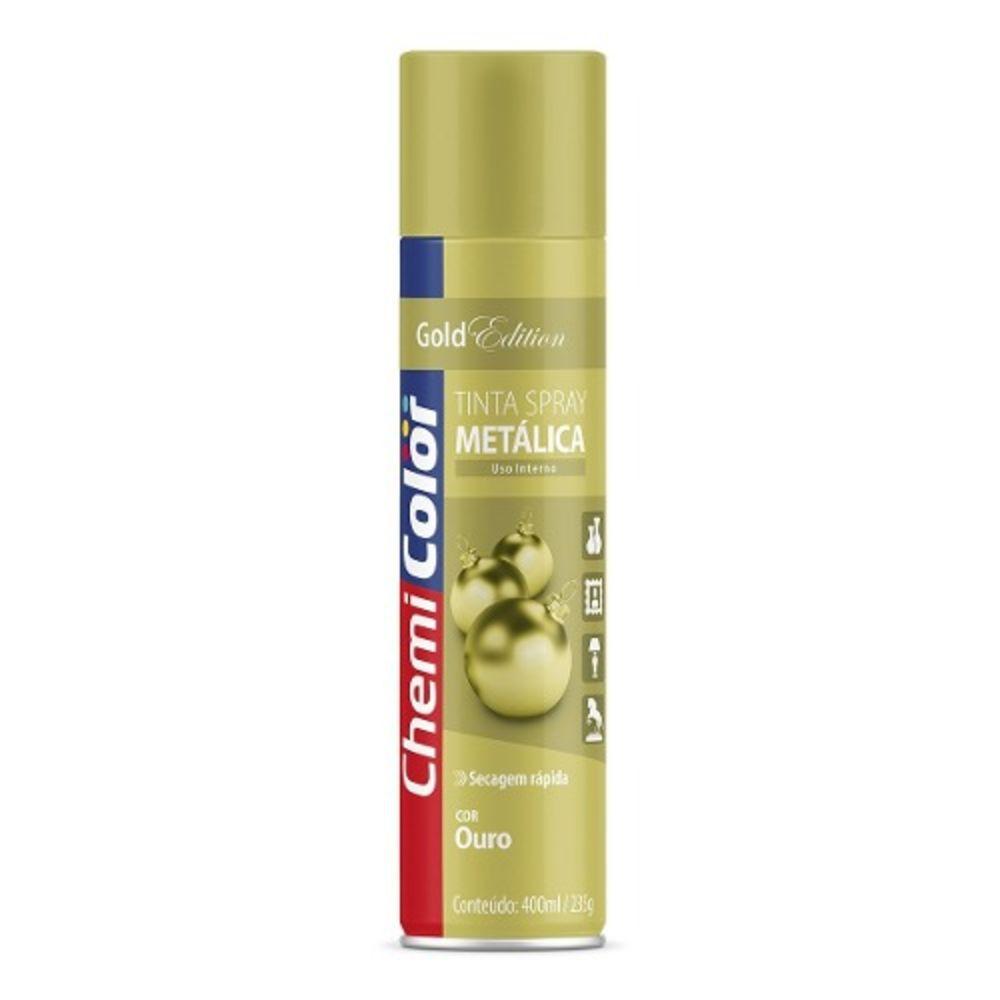 Tinta Spray Metálica Ouro 400ml Chemicolor