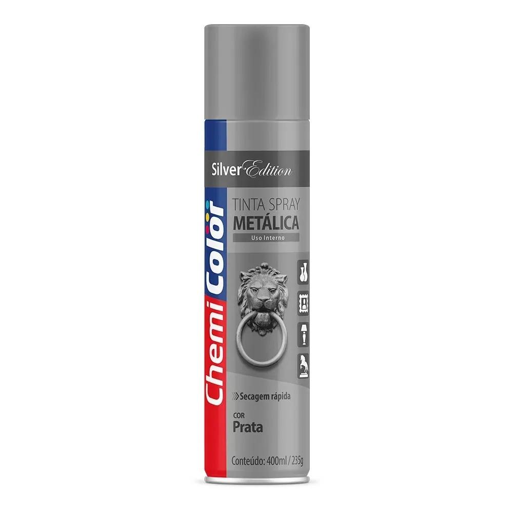 Tinta Spray Metálica Prata 400ml Chemicolor