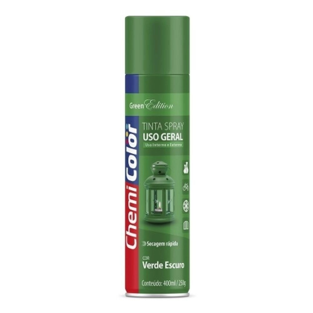Tinta Spray Uso Geral Verde Escuro 400ml Chemicolor