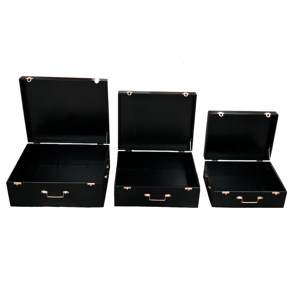 Trio de Malas Decorativas em MDF Preto e Metal Rosé Gold