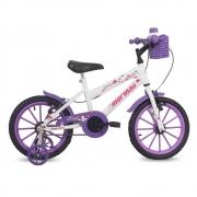 Bicicleta Free Action Aro 16 Branca e Violeta - Mormaii 01012