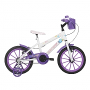 Bicicleta Sweet Girl Aro 16 Branco/Violeta - Mormaii 0701-008