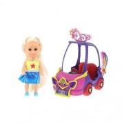 Carro Mini Sparkles Roxo E Boneca Morena - DTC 4806