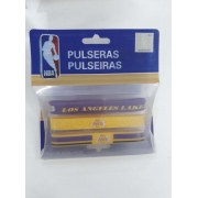 Kit C/3 Pulseiras de Silicone NBA Los Angeles Lakers - Maccabi 7192