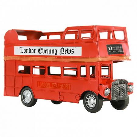 Ônibus Londrino 2 Andares De Metal Vermelho - Lunne 29891