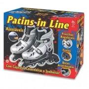 Patins InLine Ajustável C/ Acessórios Prata 38/41 Fenix AD01